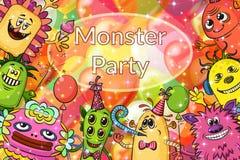 Cartoon Monsters Background Stock Photos