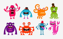Cartoon monsters or bogeyman set. Vector illustration Royalty Free Stock Photo