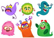 Cartoon Monsters collection. Vector set of cartoon monsters isolated Stock Image