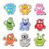 Cartoon monsters. Cartoon funny & cute monsters icons set, isolated vector illustration Royalty Free Stock Photo