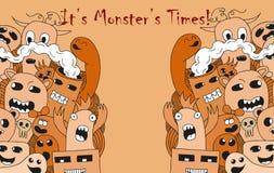 Cartoon monsters. Cartoon funny monsters on light orange background Stock Photos