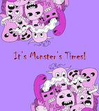 Cartoon monsters. Cartoon funny lilac monsters on purple background Royalty Free Stock Image