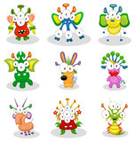 Cartoon monsters, goblins, ghosts. The collection of cartoon monsters, goblins, ghosts for Halloween or other events Stock Photography