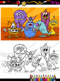 Cartoon monsters group coloring page Royalty Free Stock Photos