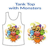 Cartoon Monsters Group. Group of Funny Colorful Cartoon Characters, Different Monsters, Elements for your Design, Prints and Banners, Presented in Sample Form Royalty Free Stock Image