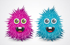 Cartoon monsters. Cartoon hairy colored monsters illustration theme Stock Image