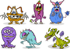 Cartoon monsters illustration set Stock Image