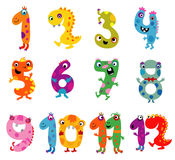 Cartoon monsters numbers Stock Photo
