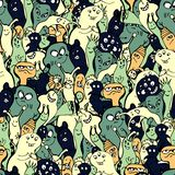 Cartoon monsters seamless pattern, hand draw doodle vector illustration. Repeatable pattern with cute monster, light stock illustration