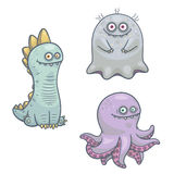 Cartoon monsters. Set of cartoon monsters characters isolated on white background Stock Photo