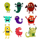 Cartoon monsters set. Colorful toy cute monster. Vector. EPS 10 Stock Photo