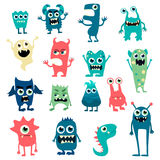 Cartoon monsters set. Colorful toy cute monster. Vector EPS 10 Royalty Free Stock Photos