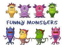 Cartoon Monsters Set Stock Photo