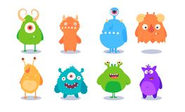 Cartoon Monsters set for Halloween. Vector set of cartoon monsters isolated. Design for print, party decoration, t-shirt vector illustration