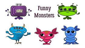 Cartoon Monsters Set Stock Images