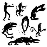 Cartoon monsters silhouettes Royalty Free Stock Photos