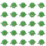 Cartoon Monsters Smilies Set. Set of Funny Monsters Smilies, Symbolizing Various Human Emotions and Moods, Cartoon Green Characters with Fluffy Hair, Isolated on Royalty Free Stock Photography