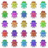 Cartoon Monsters Smilies Set. Set of Funny Monsters Smilies, Symbolizing Various Human Emotions and Moods, Cartoon Multicolored Characters with Colorful Hair Stock Photo