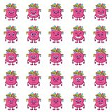 Cartoon Monsters Smilies Set. Set of Funny Monsters Smilies, Symbolizing Various Human Emotions and Moods, Cartoon Pink Characters with Colorful Hair, Isolated Stock Photography