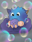 Cartoon monsters with soap bubbles, mom and baby, gray background Royalty Free Stock Photo