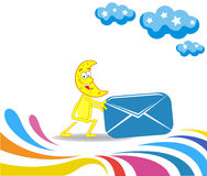 Cartoon month and an envelope for sending. Vector children illustration. Training concept Royalty Free Stock Images