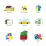 Cartoon Monthly Expenses Color Icons Set Finance Concept. Vector Stock Photography