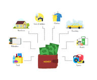 Cartoon Monthly Expenses Finance Concept. Vector Royalty Free Stock Photos