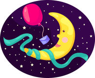 Cartoon moon with balloon Royalty Free Stock Photos