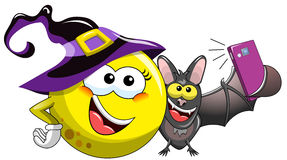 Cartoon moon bat selfie  Royalty Free Stock Image