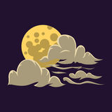 Cartoon moon with clouds nature cosmos cycle surface star astrology sphere and astronomy space lunar bright round planet Stock Image