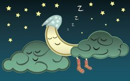 Cartoon moon and clouds sleeping in the night sky.  Royalty Free Stock Images