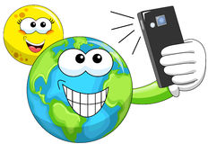 Cartoon Moon and Earth taking selfie. Smiling cartoon Moon and Earth taking selfie with smartphone Stock Images