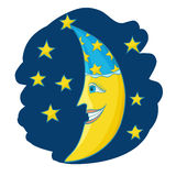 Cartoon moon with hat and stars Royalty Free Stock Image