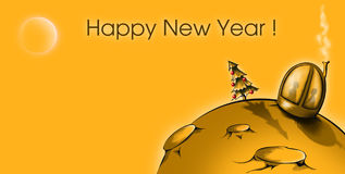 Cartoon Moon - Home. New Year on the Yellow Moon Royalty Free Stock Image