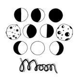 Cartoon moon and moon phases. Vector illustration Stock Photos