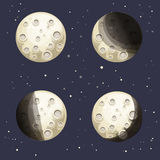 Cartoon Moon Phases. On night sky background vector illustration