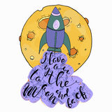 Cartoon moon, rocket. I Love You To The Moon And Back - Vector love inspirational quote.Design element for poster, t-shirt Stock Photo