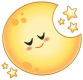 Cartoon moon. Cartoon sleeping moon with stars vector illustration