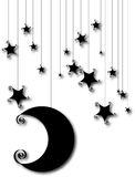 Cartoon moon and star silhouette isolated on white Stock Photography