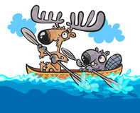 Cartoon Moose and Beaver friendly characters on canoe. royalty free illustration