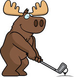 Cartoon Moose Golfing Royalty Free Stock Image