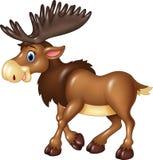 Cartoon moose happy moose isolated on white background Stock Photo