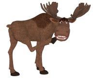 Cartoon moose looking backside. 3d Illustration, isolated on the white background stock illustration