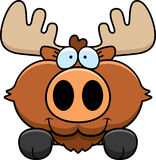 Cartoon Moose Peeking Stock Photo