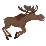 Cartoon moose running Royalty Free Stock Images