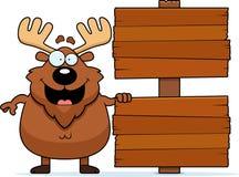 Cartoon Moose Sign Stock Photos
