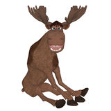 Cartoon moose sitting and smiling Stock Images