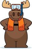 Cartoon Moose Snorkeling Royalty Free Stock Image