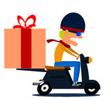 Cartoon moped driver with cargo. Royalty Free Stock Photography