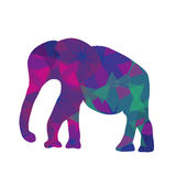 Cartoon mosaic elephant, vector illustration Royalty Free Stock Image